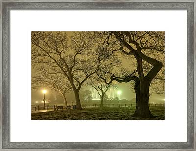 Foggy Approach To The Lincoln Memorial Framed Print by Metro DC Photography