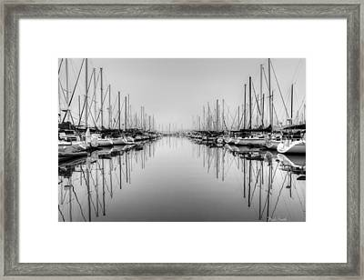 Framed Print featuring the photograph Foggy Autumn Morning - Black And White by Heidi Smith