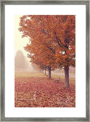 Foggy Autumn Morning Etna New Hampshire Framed Print by Edward Fielding