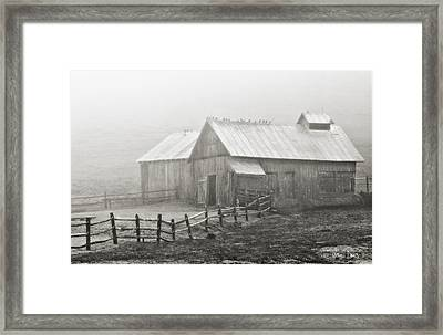 Foggy Barn Framed Print by Joan Davis