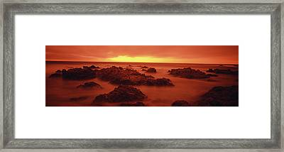Foggy Beach At Dusk, Pebble Beach Framed Print by Panoramic Images