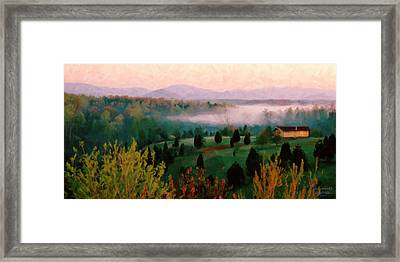 Foggy Blue Ridge Morning Framed Print by Spyder Webb