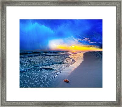 foggy blue sunrise - sea shell on Pensacola Beach Florida Framed Print by Eszra Tanner