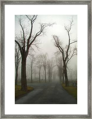 Foggy Cemetery Road Framed Print by Gothicrow Images