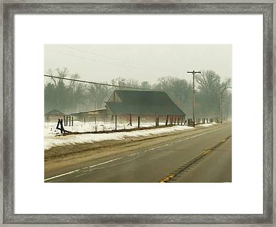 Foggy Country Farm In Twin Lakes  Framed Print by Rosemarie E Seppala