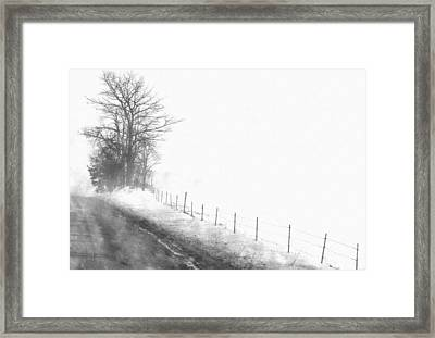 Foggy Country Road Framed Print by Rosemarie E Seppala