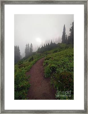 Foggy Crest Trail Framed Print by Mike  Dawson