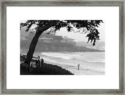 Foggy Day On Carmel Beach Framed Print