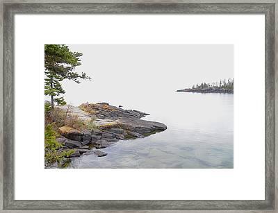 Foggy Day On Lake Superior 2 Framed Print by Sandra Updyke