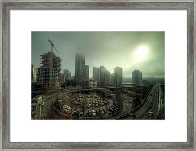 Foggy Downtown Vancouver Framed Print by Eti Reid