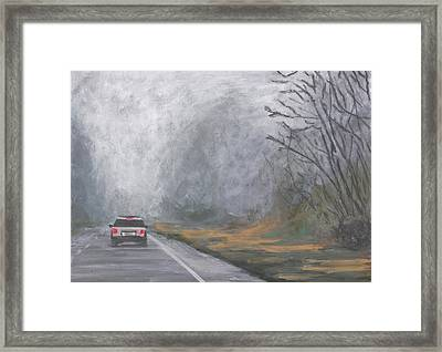 Foggy Drive Home Framed Print