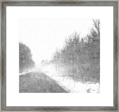 Foggy Eleven Mile Road Newaygo County Michigan Framed Print by Rosemarie E Seppala