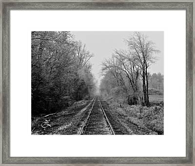 Foggy Ending In Black And White Framed Print