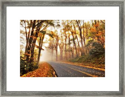 Foggy Fall Wonderland - Blue Ridge Parkway I Framed Print by Dan Carmichael