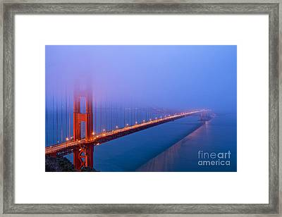 Foggy Golden Gate Bridge Framed Print by Mel Ashar