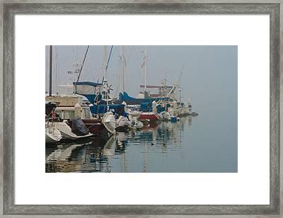 Foggy Harbor Framed Print