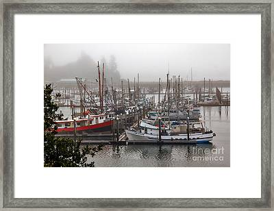 Foggy Ilwaco Port Framed Print by Robert Bales