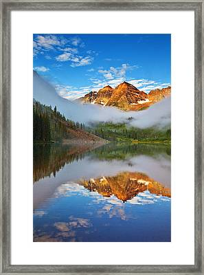Foggy Maroon Morning Framed Print by Darren  White