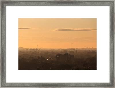 Foggy Miami Skyline Framed Print by Jonathan Gewirtz