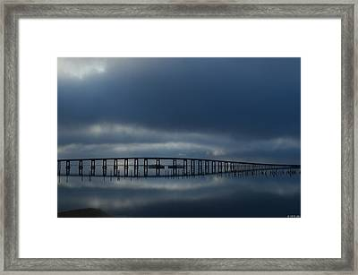 Framed Print featuring the photograph Foggy Mirrored Navarre Bridge At Sunrise by Jeff at JSJ Photography