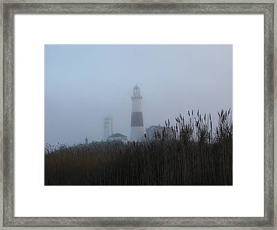 Foggy Montauk Lighthouse Framed Print by Karen Silvestri