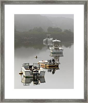 Foggy Moorings Framed Print