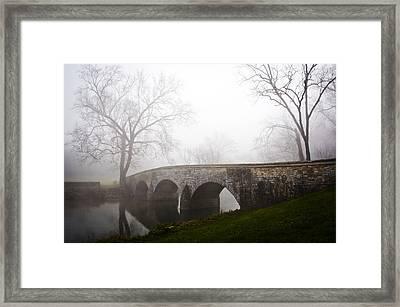 Foggy Morning At Burnside's Bridge Framed Print by Brent Spithaler