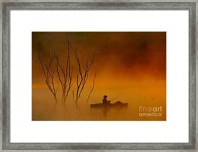 Foggy Morning Fisherman Framed Print