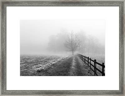Framed Print featuring the photograph Foggy Morning. by Gary Gillette