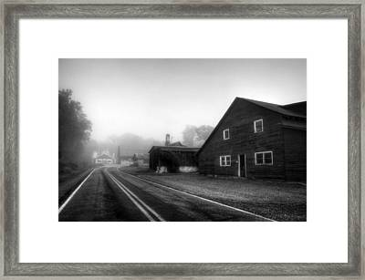 Foggy Morning In Brasstown Nc In Black And White Framed Print by Greg and Chrystal Mimbs