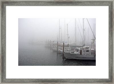 Foggy Morning In Charleston Harbor Framed Print by AJ  Schibig