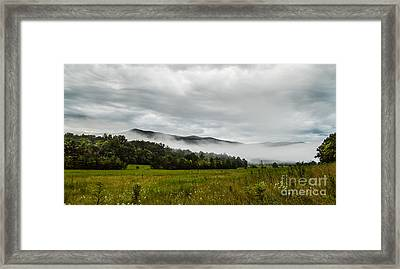 Framed Print featuring the photograph Foggy Morning In The Mountains. by Debbie Green