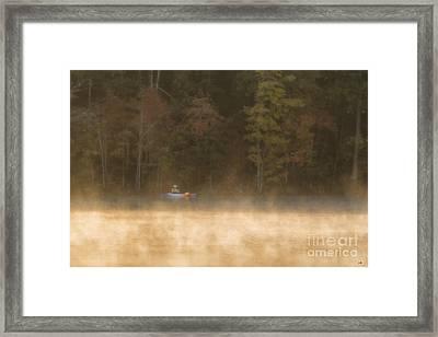 Foggy Morning Kayaking Framed Print