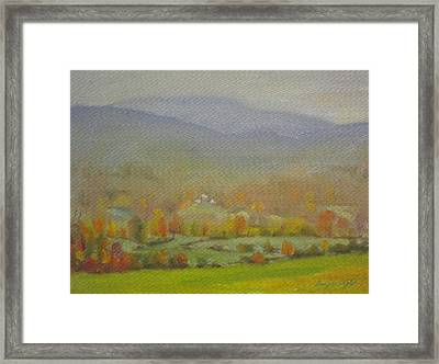 Framed Print featuring the painting Foggy Morning by Len Stomski