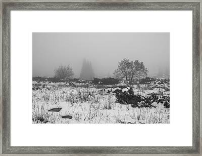 Framed Print featuring the photograph Foggy Morning Mountain Snow by Jivko Nakev