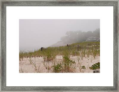 foggy morning on Chatham beach Framed Print by Jeff Folger