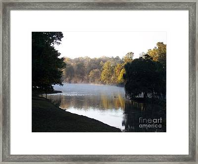 Foggy Morning On Lake Lanier Framed Print by Angelia Hodges Clay