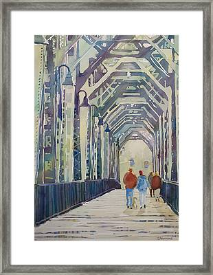 Foggy Morning On The Railway Bridge Two Framed Print