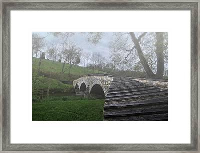 Foggy Morning Over The Antietam Creek Framed Print by Dave Sandt