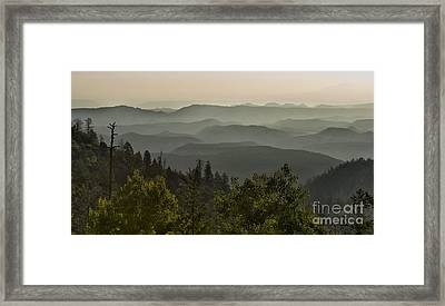 Foggy Morning Over Waterpocket Fold Framed Print by Sandra Bronstein