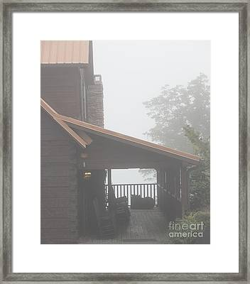 Foggy Morning Porch Framed Print by Kay Pickens