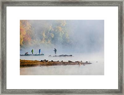 Foggy Morning St Croix River Stillwater Mn Framed Print