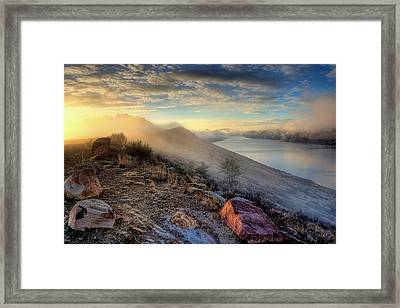 Foggy Morning Sunrise Framed Print by Steve Barge