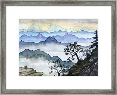 Foggy Mountaines Sunset View  Framed Print