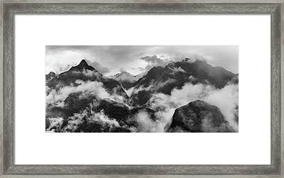 Foggy Mountains Around Machu Picchu Framed Print by Panoramic Images