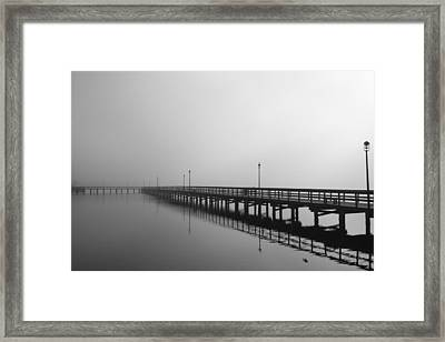 Foggy Pier Framed Print by Kimberly Oegerle