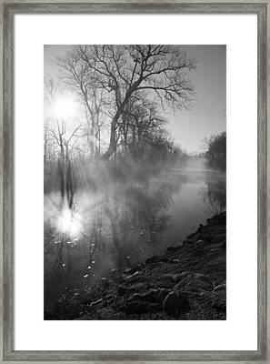 Foggy River Morning Sunrise Framed Print