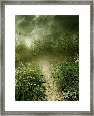 Foggy Road Art Framed Print by Boon Mee