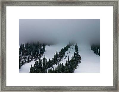 Framed Print featuring the photograph Foggy Ski Resort by Eti Reid