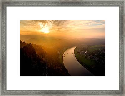 Foggy Sunrise At The Elbe Framed Print